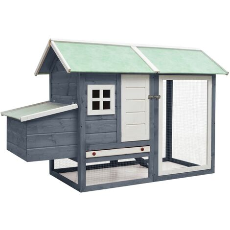 vidaXL Chicken Cage Grey 170x81x110 cm Solid Pine & Fir Wood - Grey