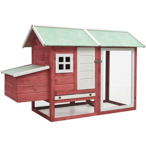 vidaXL Chicken Cage Red 170x81x110 cm Solid Pine & Fir Wood - Red