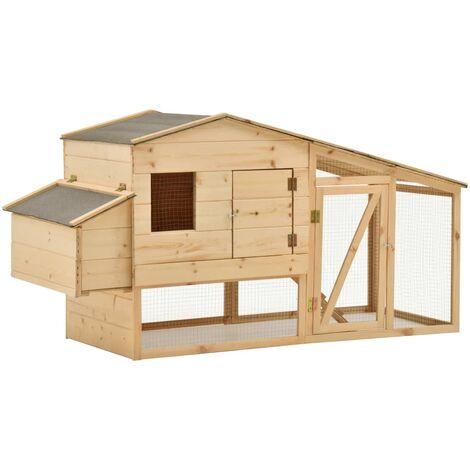 vidaXL Chicken Cage Solid Pine Wood 178x67x92 cm - Brown