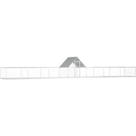 vidaXL Chicken Coop 14x2x2 m Galvanised Steel