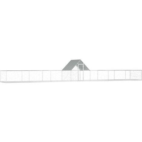vidaXL Chicken Coop 14x2x2 m Galvanised Steel - Silver