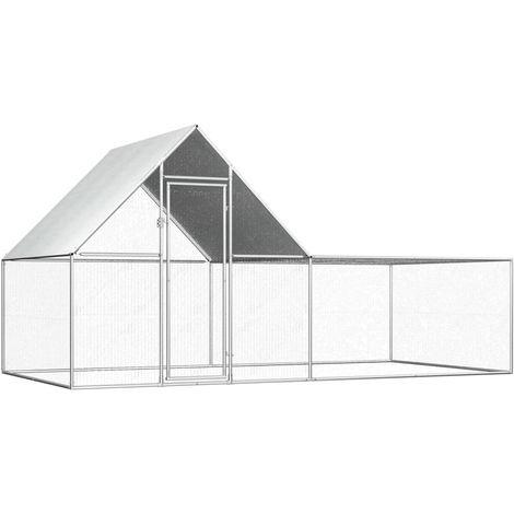 vidaXL Chicken Coop 4x2x2 m Galvanised Steel