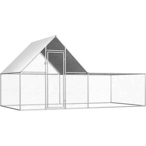 vidaXL Chicken Coop 4x2x2 m Galvanised Steel - Silver