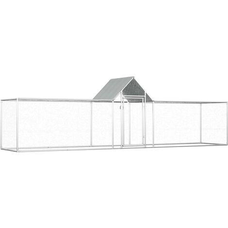 vidaXL Chicken Coop 5x1x1.5 m Galvanised Steel