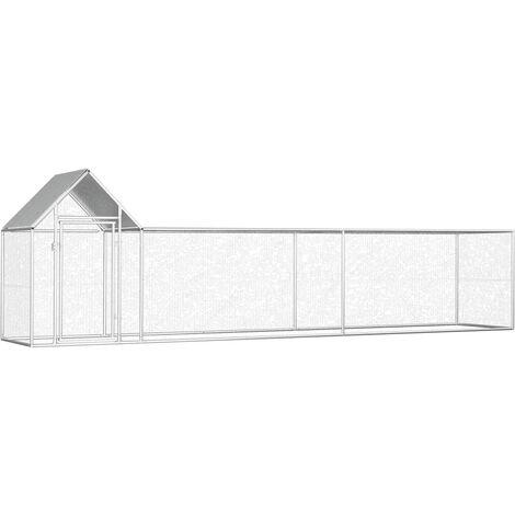 vidaXL Chicken Coop 5x1x1.5 m Galvanised Steel - Silver