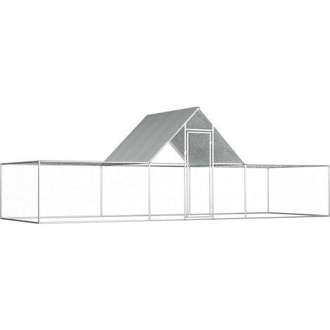 vidaXL Chicken Coop 6x2x2 m Galvanised Steel