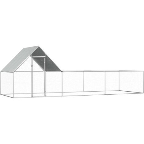 vidaXL Chicken Coop 6x2x2 m Galvanised Steel