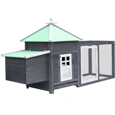 vidaXL Chicken Coop with Nest Box Grey 193x68x104 cm Solid Firwood - Grey