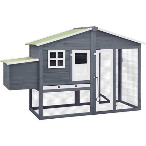 vidaXL Chicken Coop with Nest Box Grey and White Solid Fir Wood - Grey