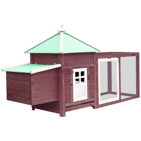 vidaXL Chicken Coop with Nest Box Mocha 193x68x104 cm Solid Firwood - Brown
