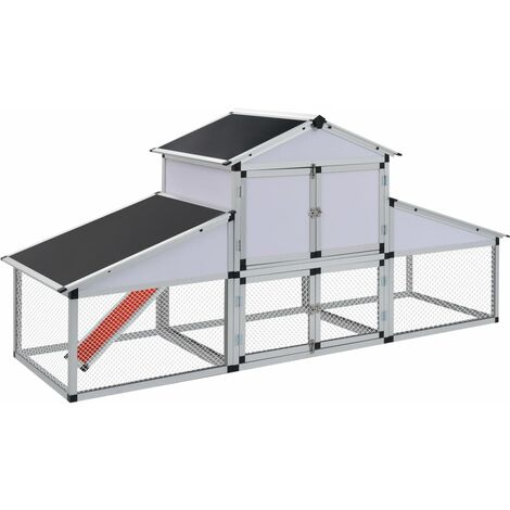 """main image of """"vidaXL Chicken Coop with Runs and Nest Box Aluminium - White"""""""