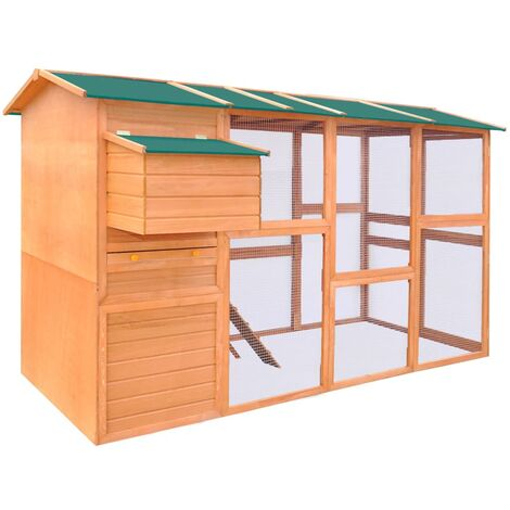 vidaXL Chicken Coop Wood 295x163x170 cm - Brown