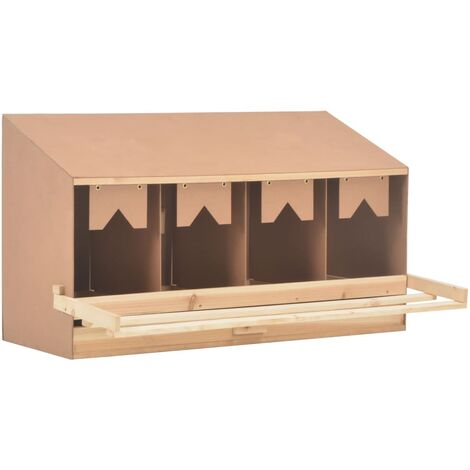 vidaXL Chicken Laying Nest 4 Compartments 106x40x59 cm Solid Pine Wood