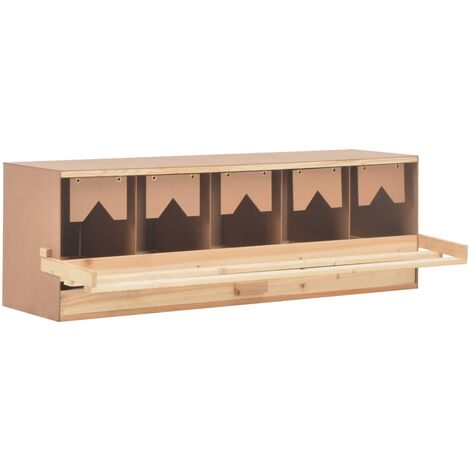 vidaXL Chicken Laying Nest 5 Compartments 117x33x38 cm Solid Pine Wood