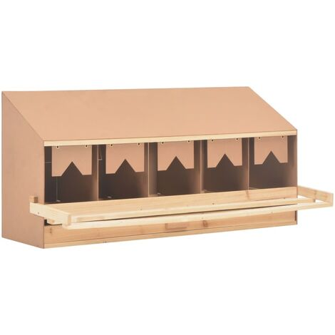 vidaXL Chicken Laying Nest 5 Compartments 117x33x54 cm Solid Pine Wood