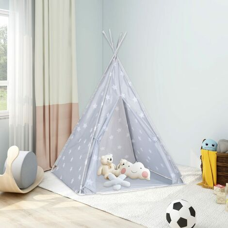 """main image of """"vidaXL Children Teepee Tent with Bag Polyester Grey 115x115x160 cm - Grey"""""""