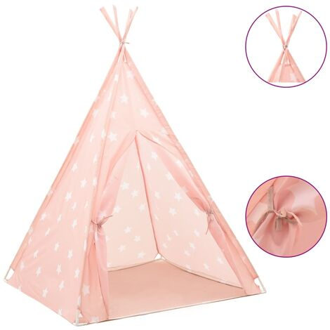 """main image of """"vidaXL Children Teepee Tent with Bag Polyester Pink 115x115x160 cm - Pink"""""""