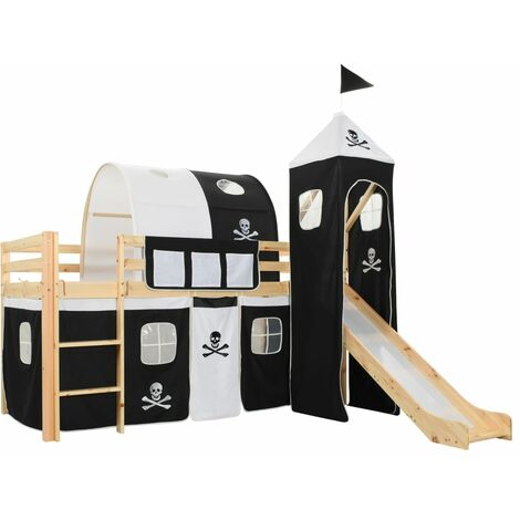 vidaXL Children's Loft Bed Frame Kid's Loft Bed with Slide & Ladder Wooden Sleeper for Child Living Guest Bed Home Bedroom Furniture Pinewood Cot