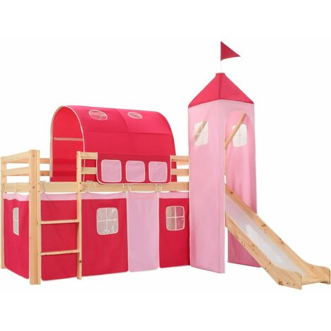 "main image of ""vidaXL Children's Loft Bed Frame Kid's Loft Bed with Slide & Ladder Wooden Sleeper for Child Living Guest Bed Home Bedroom Furniture Pinewood Cot"""