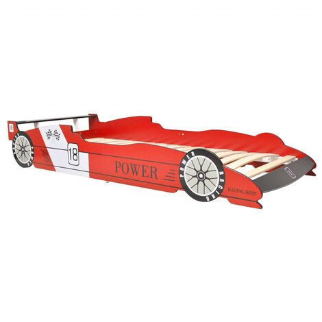 """main image of """"vidaXL Children's Race Car Design Bed with Solid Wooden Slats Kids Baby Toddler Single Hardwearing Cot Furniture MDF 90x200cm Red/Blue"""""""