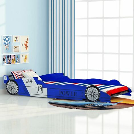 vidaXL Children's Race Car Design Bed with Solid Wooden Slats Kids Baby Toddler Single Hardwearing Cot Furniture MDF 90x200cm Red/Blue