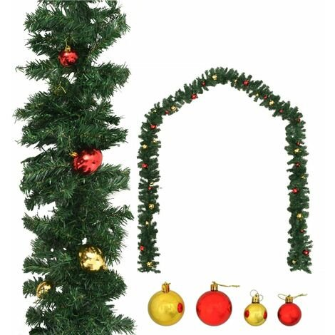 vidaXL Christmas Garland Decorated with Baubles Xmas Ornament Light 5/10/20m