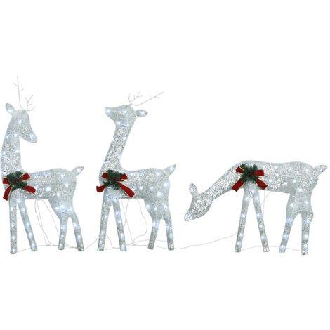 "main image of ""vidaXL Christmas Reindeer Family 270x7x90 cm Silver Cold White Mesh - White"""