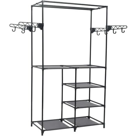 vidaXL Clothes Rack Steel and Non-woven Fabric 87x44x158 cm Black - Black