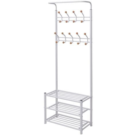 vidaXL Clothes Rack with Shoe Storage 68x32x182.5 cm White - White