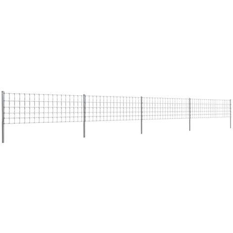 vidaXL Clôture avec Poteaux Fer Enduit de Zinc Grillage Barrière Jardin Forêt Balcon Terrasse Arrière-cour Patio Extérieur Multi-taille