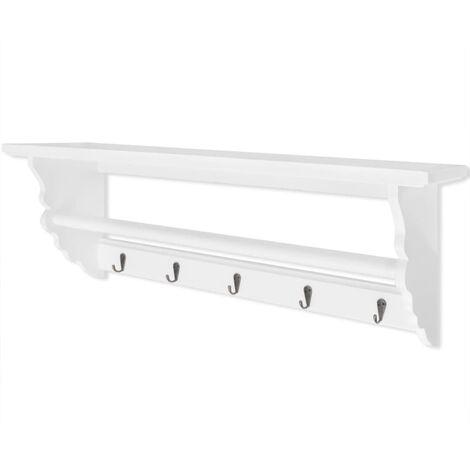 vidaXL Coat Rack MDF White Baroque Style - White