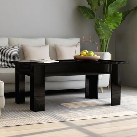 "main image of ""vidaXL Coffee Table 100x60x42 cm Chipboard High Gloss Grey - Grey"""