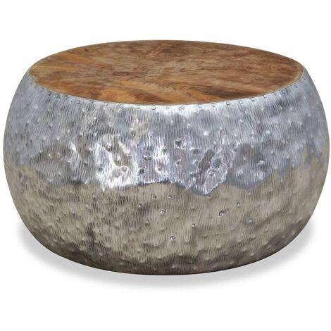 vidaXL Coffee Table Aluminium Teak 60x60x30 cm - Silver