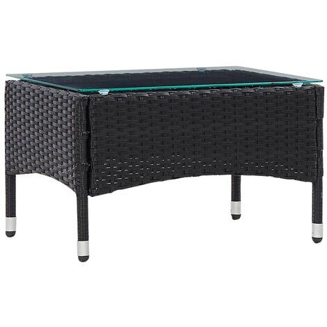 "main image of ""vidaXL Coffee Table Black 60x40x36 cm Poly Rattan - Black"""