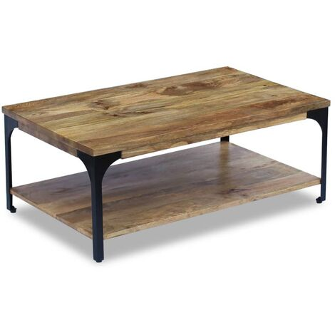 """main image of """"vidaXL Coffee Table Home Living Room Hallway Table Side End Table Indoor Furniture with Shelf Mango Wood/Solid Reclaimed Wood 100x60x38 cm/100x60x35 cm"""""""