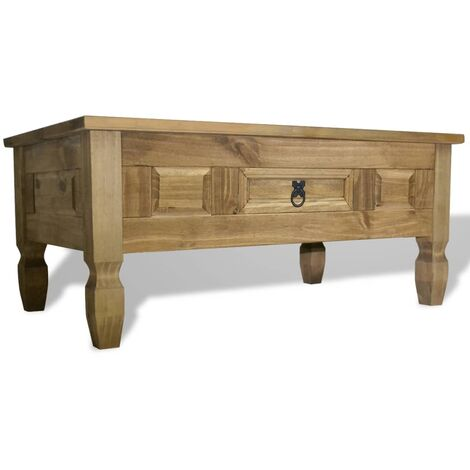 vidaXL Coffee Table Mexican Pine Corona Range with a Drawer Lounge Living Room Dining Room Kitchen Couch End Side Tea Telephone Tables Multi Colours