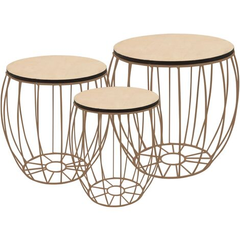 vidaXL Coffee Table Set 3 Pieces Poplar Plywood Iron - White