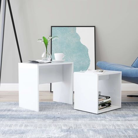 vidaXL Coffee Table Set White 48x30x45 cm Chipboard - White