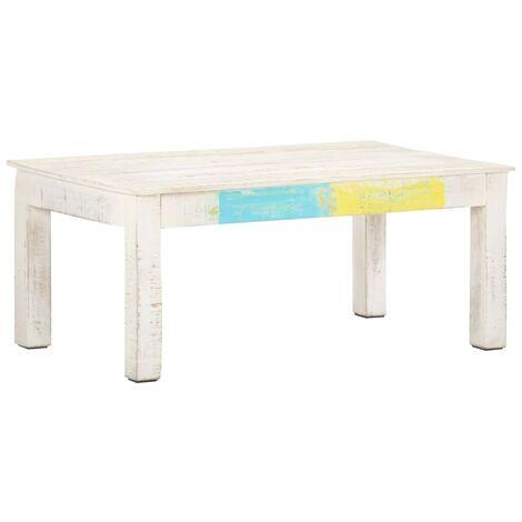 "main image of ""vidaXL Coffee Table White 110x60x45 cm Solid Mango Wood - White"""