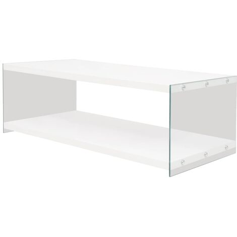 vidaXL Coffee Table with Shelf Dining Room Living Room Furniture Accent Side End Couch Sofa Tea Rectangular Stand Glass MDF White/Oak Colour