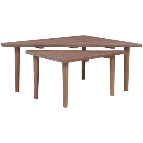 """main image of """"vidaXL Coffee Tables 2 pcs Solid Teak Wood - Brown"""""""