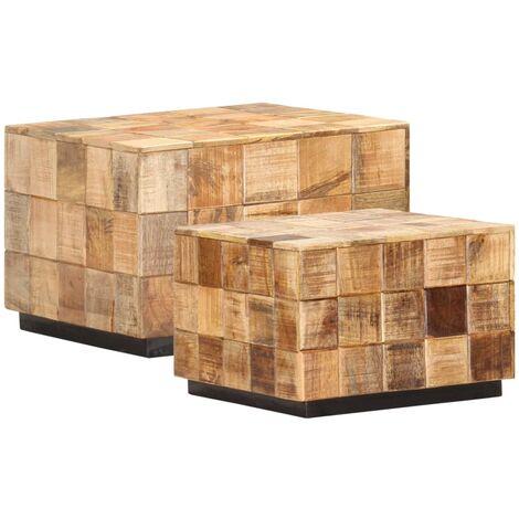 vidaXL Coffee Tables 2 pcs with Block Design Rough Mango Wood - Brown