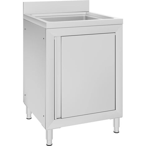 """main image of """"vidaXL Commercial Kitchen Sink Cabinet 60x60x96 cm Stainless Steel"""""""