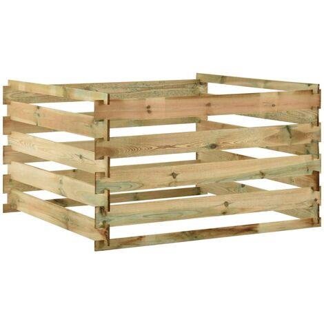 vidaXL Compostador con listones madera pino impregnada 120x120x70 cm - Verde