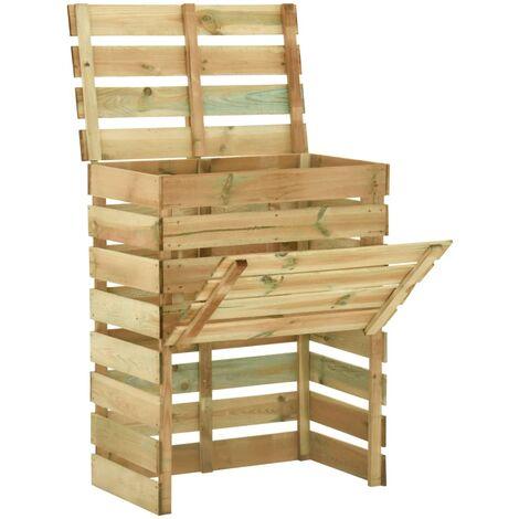 vidaXL Compostador con listones madera pino impregnada 80x50x100 cm - Marrón
