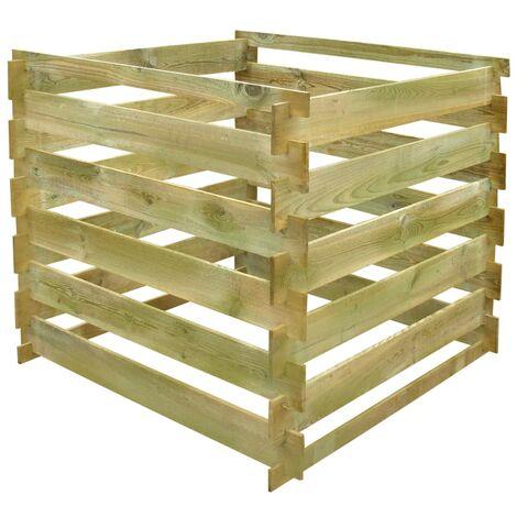 vidaXL Compostador de listones cuadrado de madera 0,54 m3 - Marrón
