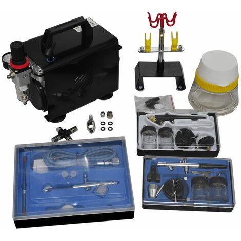 vidaXL Compresor de Aerógrafo con 2 Pistolas Modelo 1