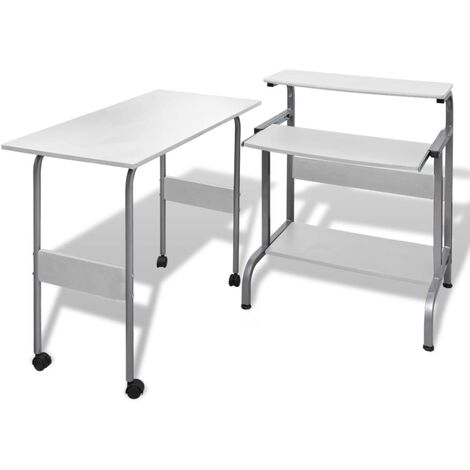 vidaXL Computertisch mit Ausziehbarer Tastaturablage 2-tlg. Schreibtisch Bürotisch Arbeitstisch Laptoptisch PC Tisch mehrere Auswahl