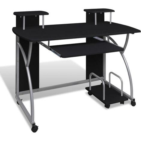 vidaXL Computertisch mit Ausziehbarer Tastaturablage Rollen Schreibtisch Bürotisch Computerwagen Laptoptisch PC Tisch mehrere Auswahl