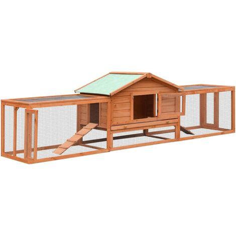 vidaXL Conejera de madera maciza de pino y abeto 303x60x86 cm - Marrón